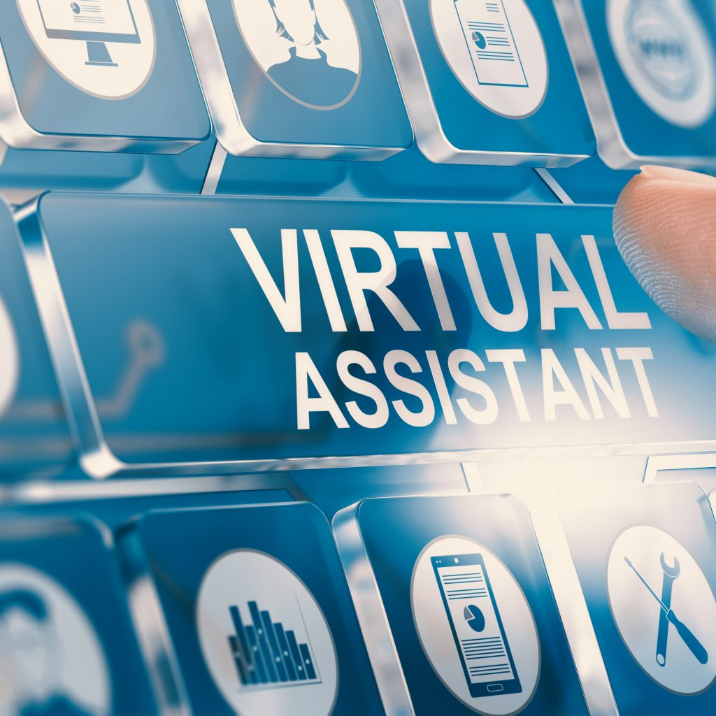 Pushing the blue keyboard button for hiring virtual assistant