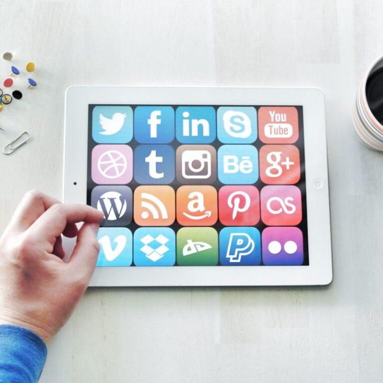 logos of social media platforms on tablet