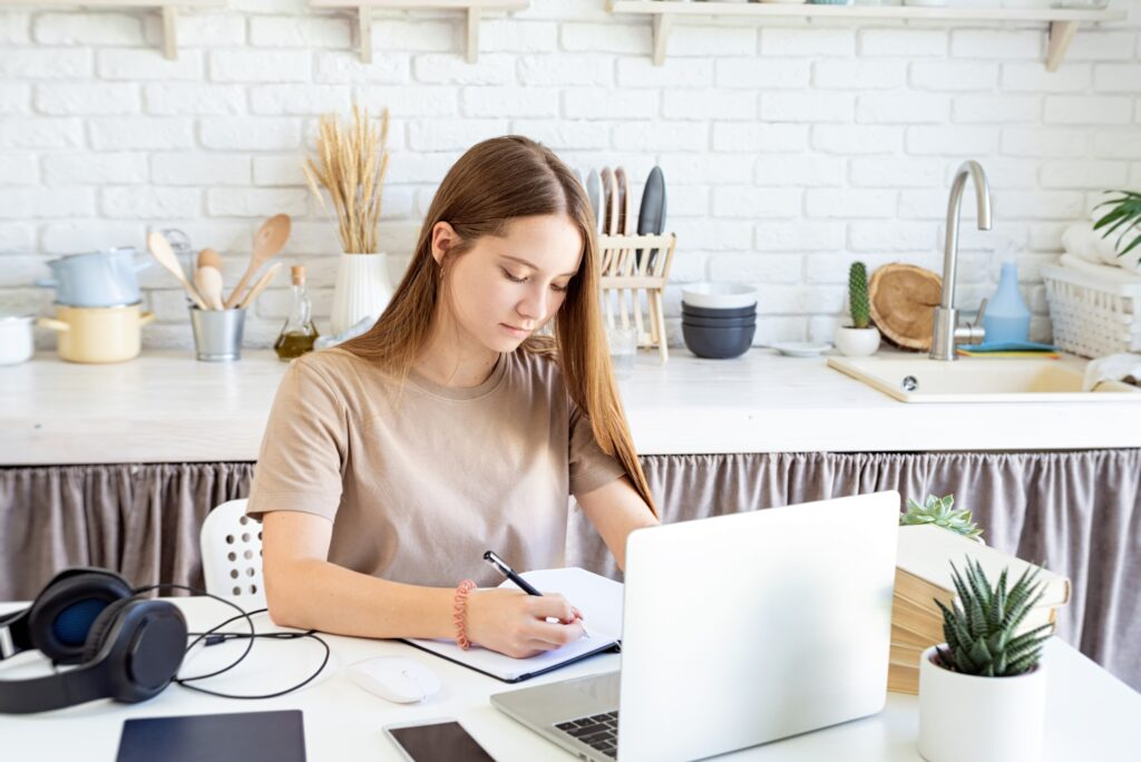 freelance writer at work from home